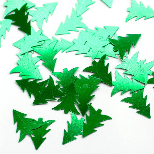 Konfetti 'Tannenbäume' grün metallic